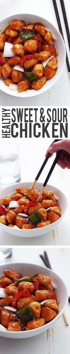 Healthy Sweet & Sour Chicken - it's easy, better tasting than takeout, and ready in just 30 minutes.  Put it on tofu instead for a vegan dish