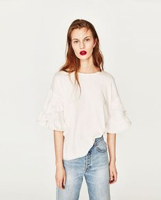 4cd8341173ae7 Image 2 of T-SHIRT WITH FRILLED SLEEVES from Zara Bell Sleeve Top