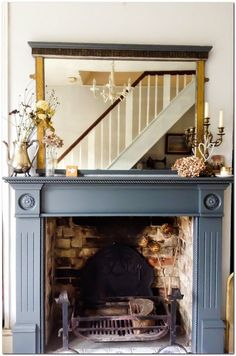Terrific Images vintage Fireplace Mantels Style Farrow and ball Downpipe painted fire surround by Emma Connolly Designs. Grey Fireplace, Paint Fireplace, Small Fireplace, Fireplace Remodel, Fireplace Surrounds, Fireplace Design, Fireplace Mirror, Painted Fireplace Mantels, Fireplace Ideas