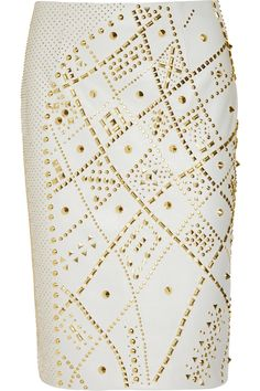 THE TREND EDIT SS2012 Skirt The Issue No.16/25 ON TREND - White & Chic Gloss   VERSACE Studded leather pencil skirt
