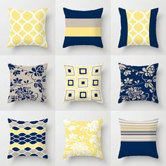 Navy Yellow Bedrooms, Blue And Yellow Living Room, Navy Living Rooms, Blue Yellow Grey, Blue Bedroom, Blue And Yellow Bedroom Ideas, Yellow Throw Pillows, Toss Pillows, Cushions Navy