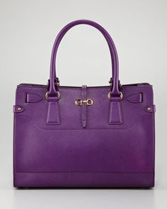 Briana Small Leather Tote, Blueberry by Salvatore Ferragamo at Neiman Marcus.
