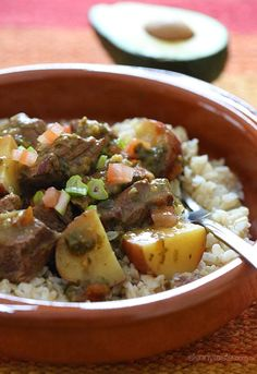 Crock Pot Carne Guisada (Latin Beef Stew) –Slow cooked Latin beef stew with baby red potatoes and aji picante sauce.
