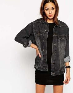 ASOS | Denim Girlfriend Jacket in Black #Asos #denim #girlfriend #jacket