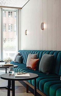 Tufted banquette seating restaurant design Ideas for 2020 Restaurant Interior Design, Design Hotel, Best Interior Design, Restaurant Interiors, Hotel Lobby Interior Design, Brewery Interior, Corporate Interior Design, Lobby Design, Restaurant Furniture