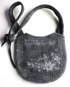 Subtle Gray Glitter Messenger Shoulder Felted Bag - Hand felted wool - Wearable Art. $79.00, via Etsy.