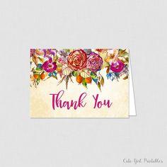 Printable Floral Bridal Shower Thank You Card - Bridal Shower Thank You Card - Bridal Thank you Card - Floral Bridal Shower  - Card -  0011P