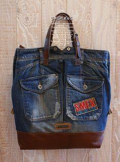빈티지 청바지 가방 빅사이즈 만들었습니당^^ 이번에 만든 가방은 10년도 휠씬 넘은 멜빵 청바지로 만들었...