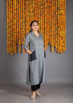 The Black-White Stripe & Check Collar Kurta Simple Kurti Designs, Salwar Designs, Kurta Designs Women, Kurti Designs Party Wear, Neck Designs For Suits, Dress Neck Designs, Blouse Designs, Collar Kurti Design, Kurta Neck Design
