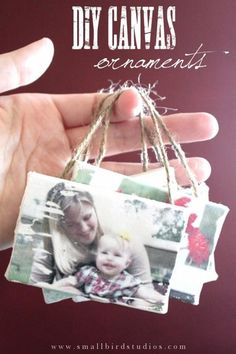 DIY canvas picture ornaments. Also good to hang on the wall or dangle them on a bigger frame.