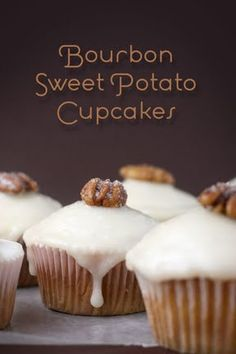Bourbon Sweet Potato Cupcakes JUST THE CUPCAKES, PLUS CANDIED BACON.  YUMMY!