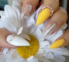 Yellow and White Floral Nails – My Nail Envy negative space, spring, yellow, starfish, summer, 3d, flowers, rhinestones, pearls, caviar, stickers, stiletto, long, soak off gel, nail art, bmc, bundle monster, matte, stripes
