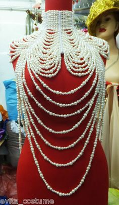 Evita J002 Showgirl Cabaret Pageant Vegas Drag Bead Pearl Necklace Choker | eBay