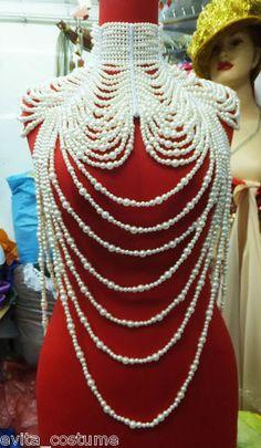 Evita J002 Showgirl Cabaret Pageant Vegas Drag Bead Pearl Necklace Choker | eBay