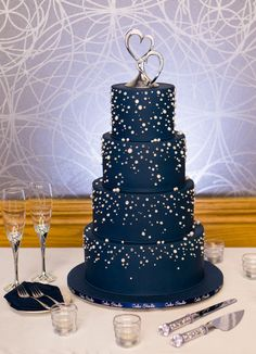 Midnight blue wedding cake with silver bling by Nina Notaro on satinice.com!