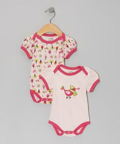 Take a look at this Pink Bird Tree Organic Bodysuit Set by My O Baby on #zulily today!