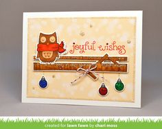 the Lawn Fawn blog: Fawny Holiday Christmas Card by Chari Moss (using Joy To the Woods and Winter Owl)