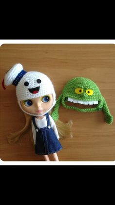 Crochet ghostbusters and slime helmets