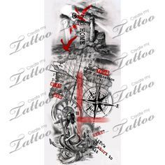 Trash polka nautical sleeve. | nautical trash polka sleeve #209501 | CreateMyTattoo.com