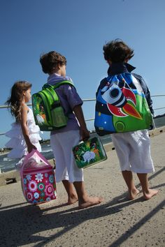 Bobble Art - Single heart picnic basket [$39.95]; Large jungle PVC backpack [$39.95]; Large 600ml jungle drink bottle [$24.95]; Jungle tin suitcase [$12.95]; Rocket swimming/library bag [$24.95]