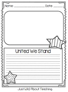 Just Wild About Teaching: United We Stand - A Patriotic Craftivity! Check out some great writing printables for September and a very cute craft! Kindergarten Social Studies, Teaching Social Studies, Teaching Kids, Teaching Resources, Kindergarten Writing, Literacy, Library Activities, Writing Activities, Classroom Activities