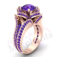 Lotus Flower Proposal Ring 3.30 Ct Lab Made Purple Sapphire