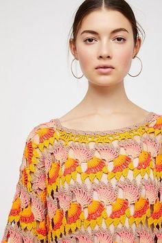 Little Fan Crochet Stripe Sweater
