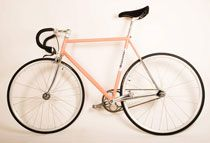 The Acne/Bianchi bicycle in pink with dropped handlebars! #acne #bianchi #bicycle