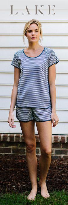 LAKE pima cotton pajamas. Shorts set. Sailor stripe.