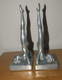 ART DECO NUDES SILVER CLAD BOOKENDS LEGS UP FRANKART SASPARILLA 1985