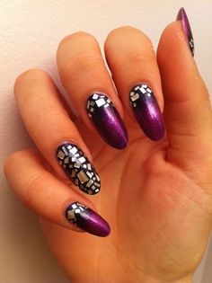 Tin foil cut out and purple nails