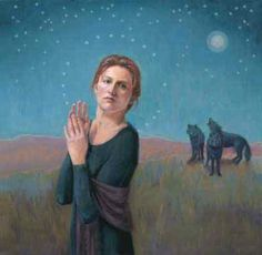 Prayer Interrupted by Shauna Cook Clinger. Reminds me of Women Who Run With the Wolves Image, Painting, Art, Christian Art, Modern Christian Art