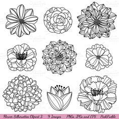 Illustrations ~ Flower Silhouettes 3 Vectors/Clipart ~ Creative Market