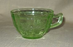 Uranium Glass Cup in the Sunflower Green Pattern by Jeannette Glass Circa 1930-1935 by LovesVintageFinds, $6.00