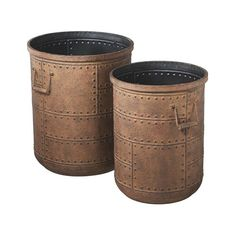 This set of two Crescent Lake Studded Metal Planters adds a dramatic, dimensional effect to a transitional living area. Gorgeous rusted metal with stud accents looks and feels earthy and intense. Use t...  Find the Crescent Lake Studded Metal Planter - Set of 2, as seen in the Detroit Strong Collection at http://dotandbo.com/collections/detroit-strong?utm_source=pinterest&utm_medium=organic&db_sku=101965