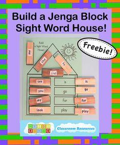 Sight Word Jenga House - Freebie from HeidiSongs!