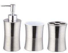 Stainless Steel Bath Set in Chrome Steel Bath, Beyond The Rack, Bathroom Sets, Soap Dispenser, Bathroom Accessories, 3 Piece, Chrome, Stainless Steel, Bathroom Ensembles