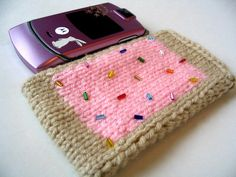Free knitting pattern for Pop Tart Cell Phone Pocket and more device knitting patterns