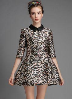 Leopard Lapel Half Sleeve Slim Flare Dress