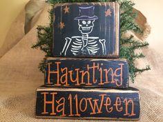 Primitive Country Skeleton Haunting Halloween Shelf Sitter Wood Block Set #PrimitiveCountry