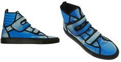 Raf Simons, high-tops in blue holographic finish, fall/winter 2007 menwear collection.
