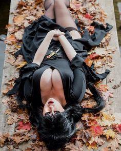 New 2016 #Elvira #mistressofthedark #cosplay prints! Available at http://lilyspitfyre.storenvy.com/collections/215704-all-products/products/18265157-elvira-mistress-of-the-dark. #sexy #sexycosplay #fall #leaves #spooky #halloween #boobs #goth