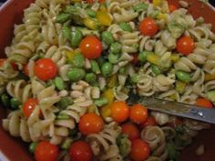 Edamame, tomatoes, and feta pasta recipe. Tasty!