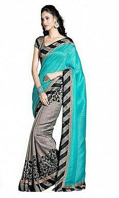 Printed Bhagalpuri Blue saree@ Rs.384.00
