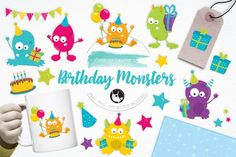 Birthday Monsterspack features over 15 graphic elements and is perfect for invitations, greeting cards, product design, tags, labels and so much more.