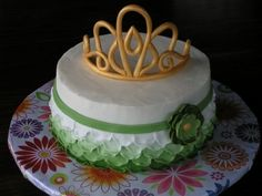 A cake fit for a QUEEN...my grandma! By ashegoe on CakeCentral.com, i think that I might try to make this tiara for Taylors birthday cake