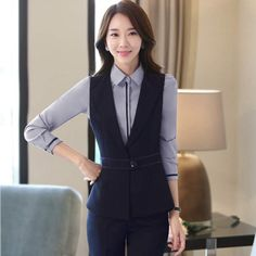 2017 primavera nuevas mujeres Profesionales solo botón chaleco pantalones  trajes para mujeres oficina ropa de trabajo c63624f201e8
