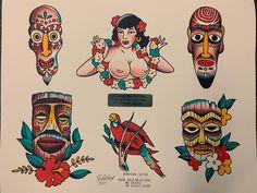 Traditional Flash, American Traditional, Tattoo Traditional, Traditonal Tattoo, Tattoo Nightmares, Tropical Tattoo, Tiki Tattoo, Letras Tattoo, Paradise Tattoo