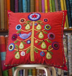 Partridge-in-a-Pear-Tree Pillow by Wendy Williams