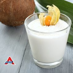 Shakes are an easy way to start your day happy and healthy - try this #LowCarb Coconut Protein Shake!  #Atkins #Weightloss